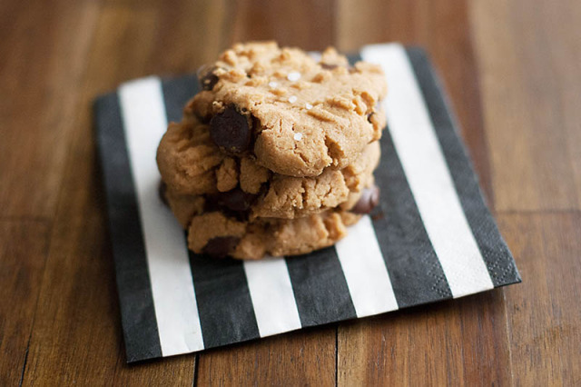 Salted Dark Chocolate Peanut Butter Cookies