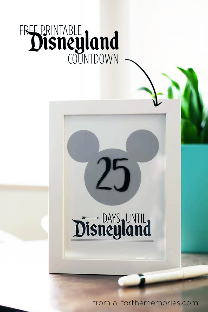 Free Printable Disneyland Countdown