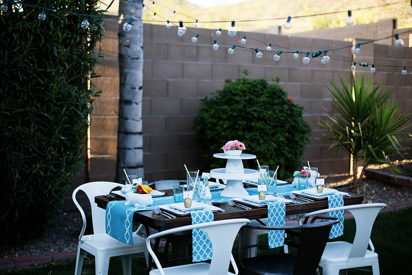 Outdoor Easter dinner party from All for the Memories