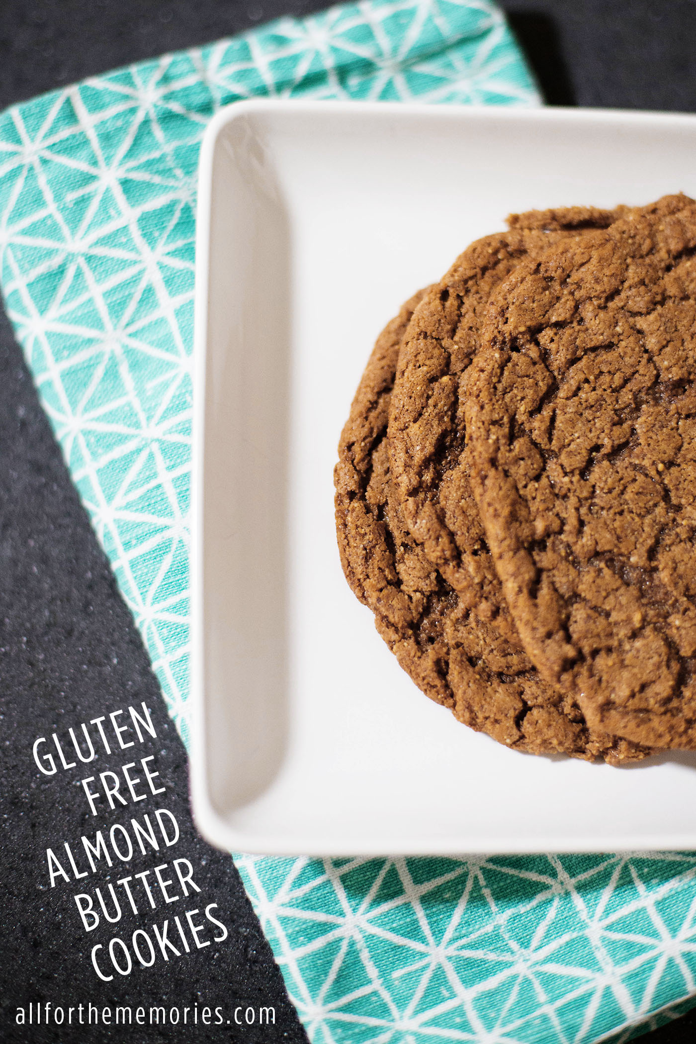 Chewy gluten free, grain free almond butter cookies - add cocoa powder or chocolate chips to change up the flavor a bit!