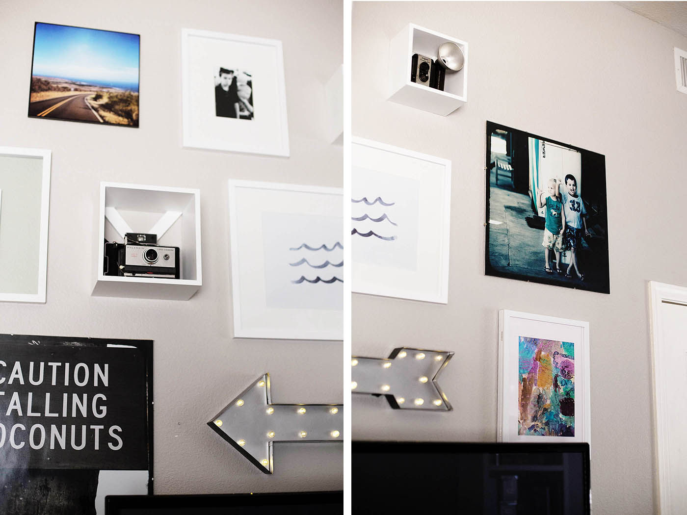 Wall gallery with frames from Target. This would be easy to switch out photos and add on to over time!