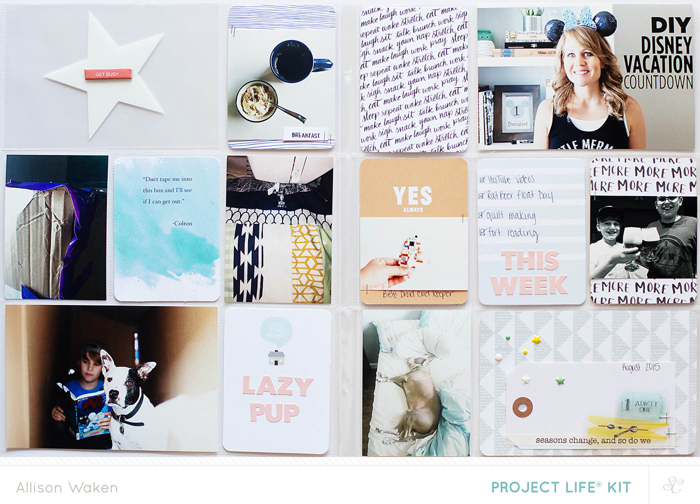 September 2015 Studio Calico Kit Spreads by Allison Waken using 9x12 page protectors