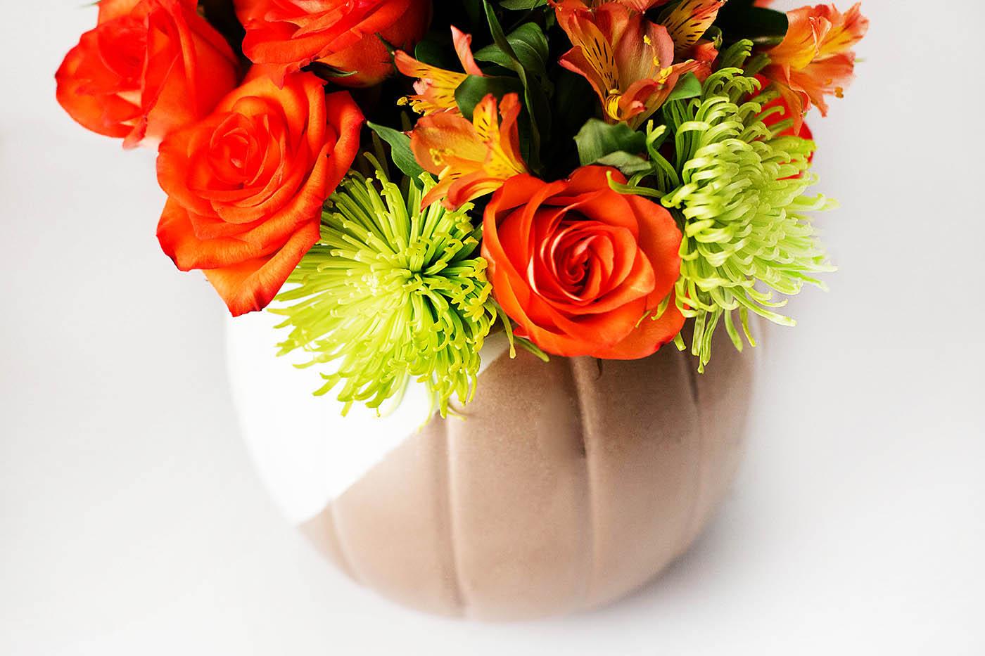 DIY Pumpkin Vase with a Plastic Pumpkin