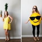 DIY pineapple and emoji costume from Savers