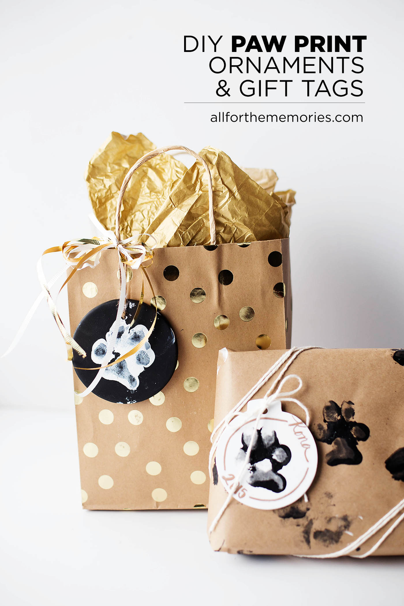 DIY dog paw print ornaments & gift tags