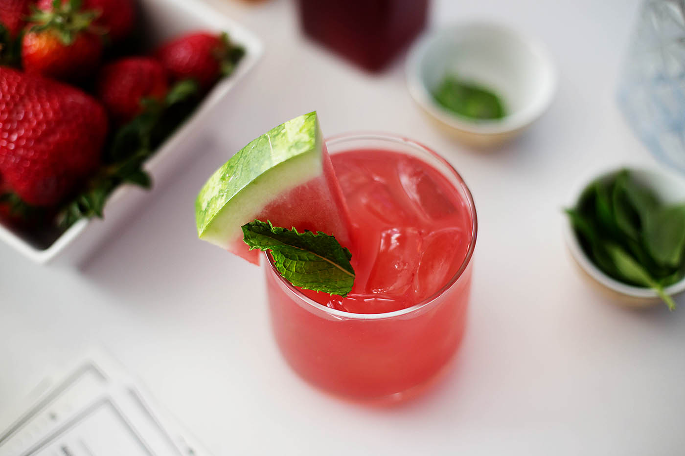 Vodka watermelon mint Jalapeño cocktail