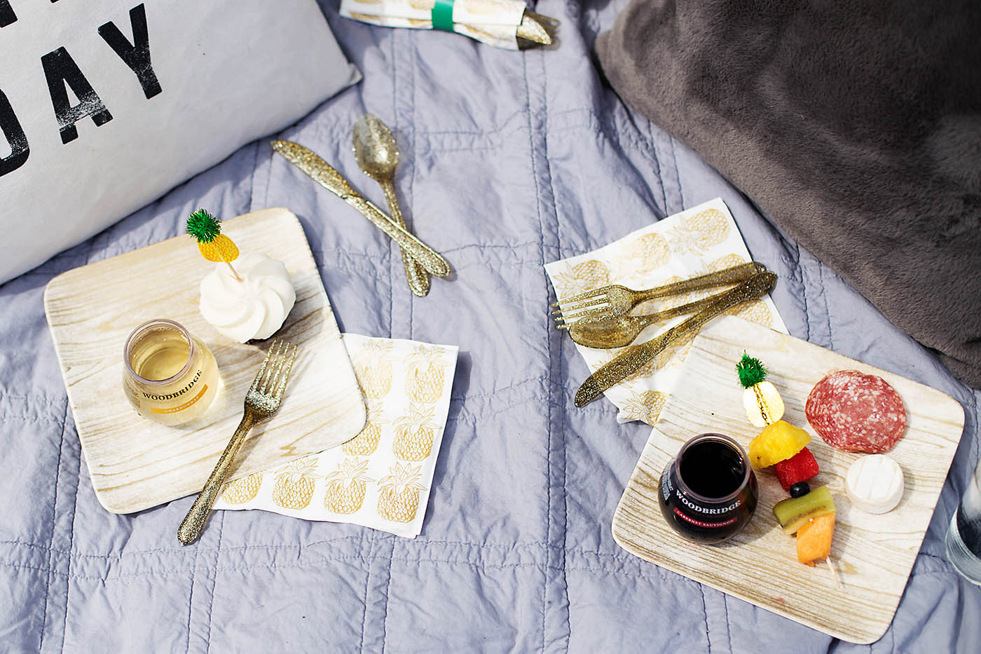 DIY Party in a Box including single serve wine, perfect for tailgate, camping or other outdoor parties