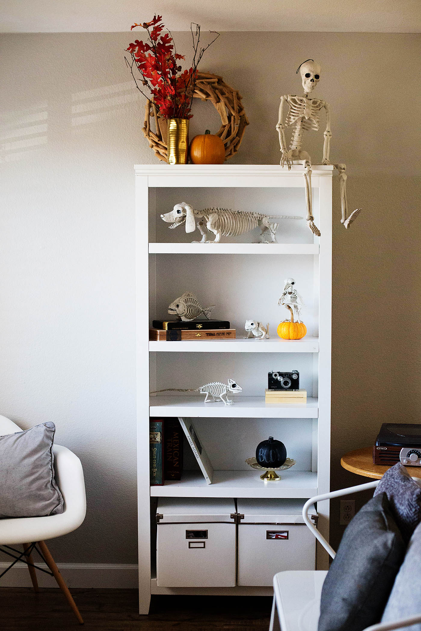 Light (but still spooky) Halloween decor bookcase