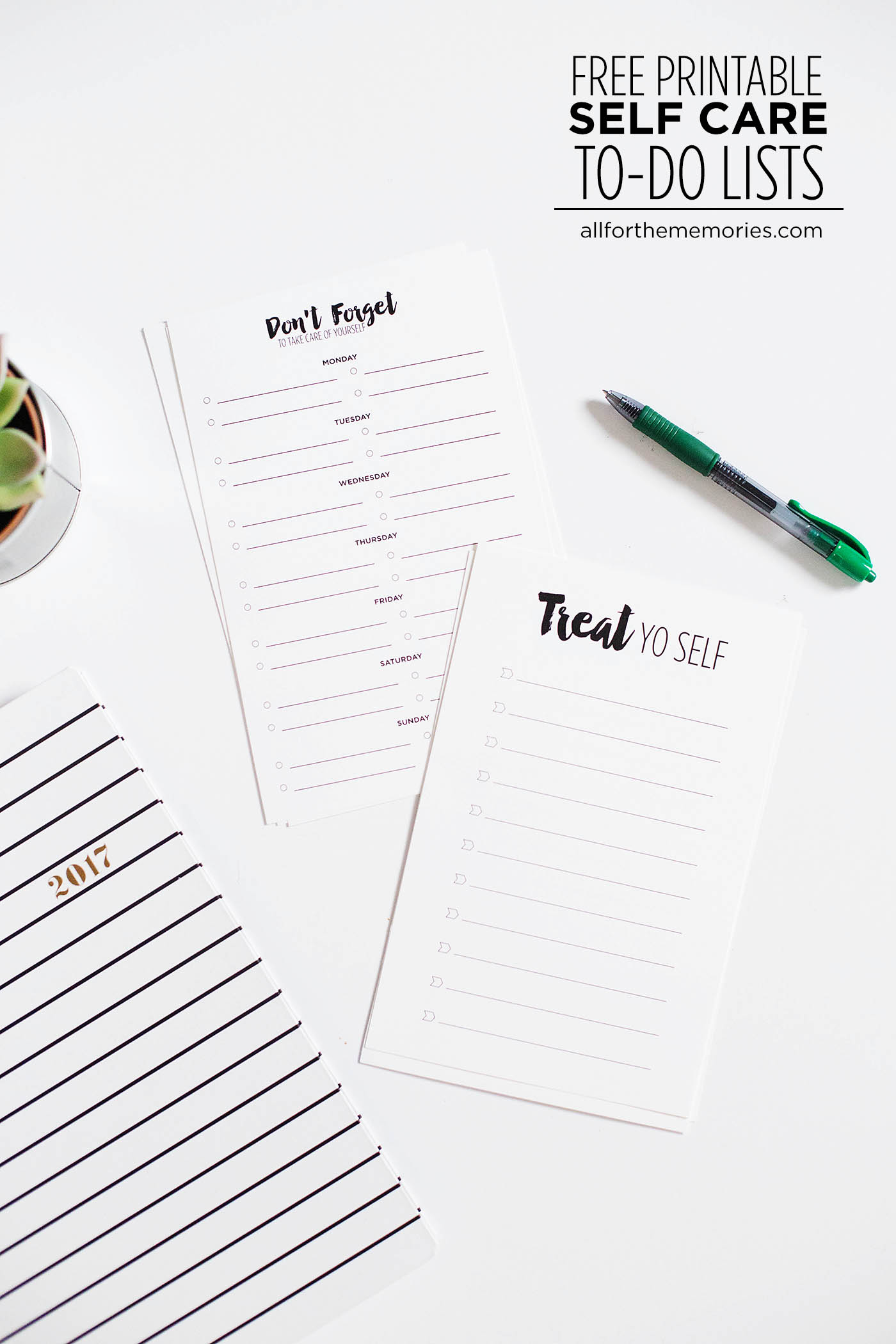 Free printable self care checklist