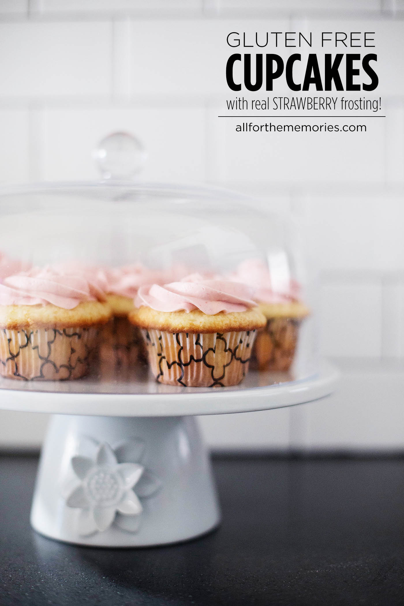 The BEST gluten free cupcakes with real strawberry frosting