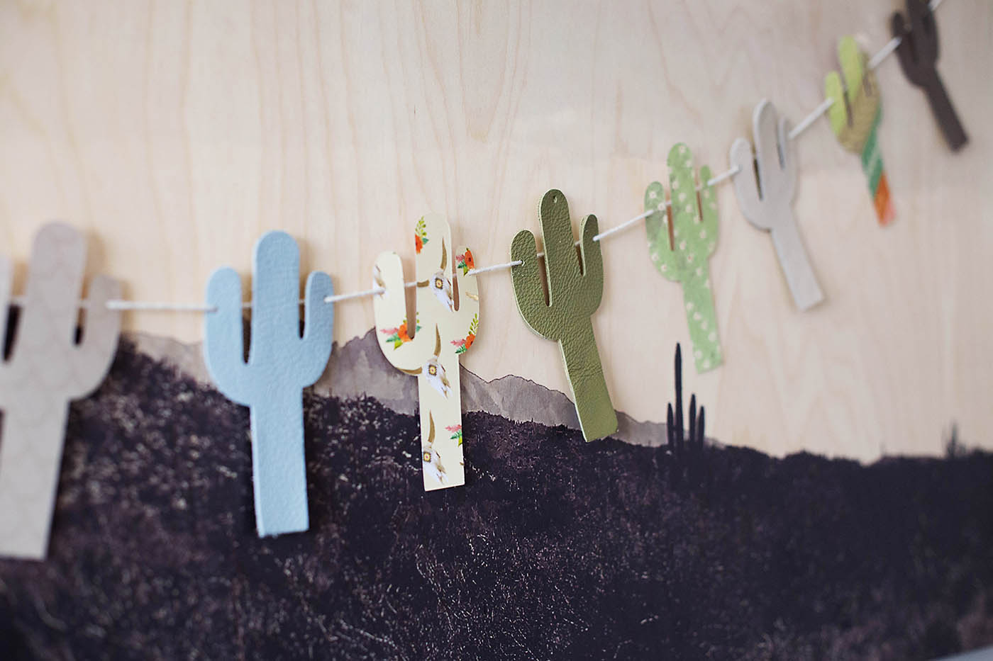 Super simple DIY leather cactus bunting