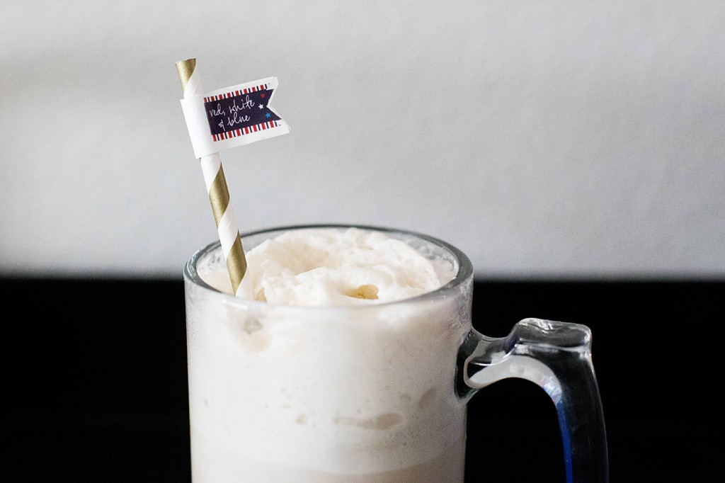 Handcrafted spiked root beer float at an adorable patriotic party