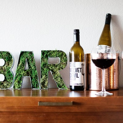 DIY Mossy Bar Sign