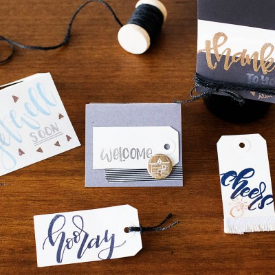Simple Hand Lettered Stamped Gift Tags & Wine Tags